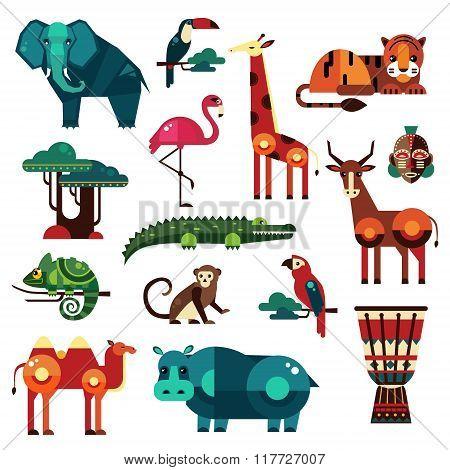 Africa and Savanna Animals Vector Set