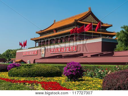 BEIJING, CHINA - SEPTEMBER 26, 2012: Tiananmen Square, Gate Of Heavenly Peace