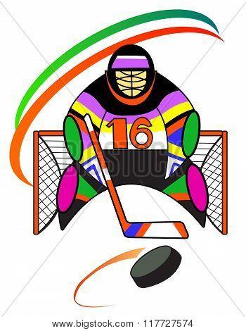 Hockey goalkeeper in the gate