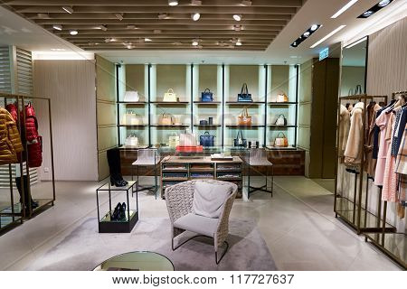 HONG KONG - JANUARY 26, 2016: interior of Max Mara store at Elements Shopping Mall. Max Mara is a luxury Italian fashion house