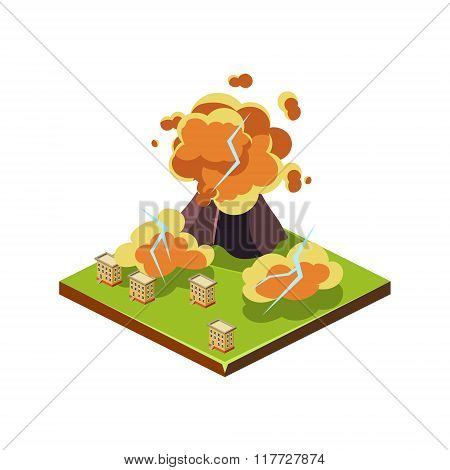 Volcano Eruption. Natural Disaster Icon. Vector Illustration