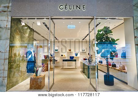 HONG KONG - JANUARY 26, 2016: Celine store at Elements Shopping Mall. Celine is a French ready-to-wear and leather luxury goods brand
