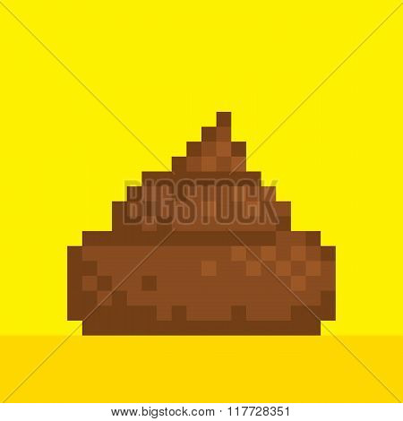 Pixel art style poo on yellow vector illustration