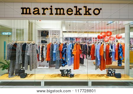 HONG KONG - JANUARY 26, 2016: shopwindow of Marimekko store in Hong Kong. Marimekko is a Finnish company based in Helsinki that has made important contributions to fashion, especially in the 1960s