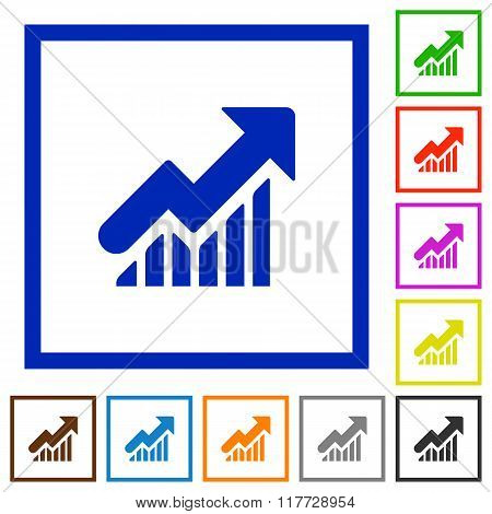 Rising Graph Framed Flat Icons