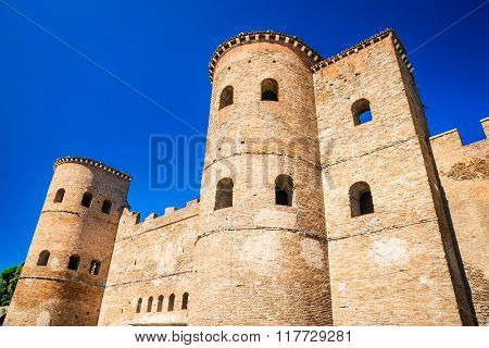 Rome Italy. Porta Asinaria is a gate in the Aurelian Walls of Rome dating from Roman Empire ancient times.