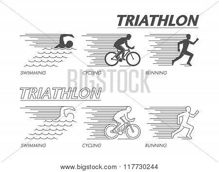 Modern line logo triathlon. Flat black logo triathlon. Vector figure triathletes. Swimming cycling and running symbol.