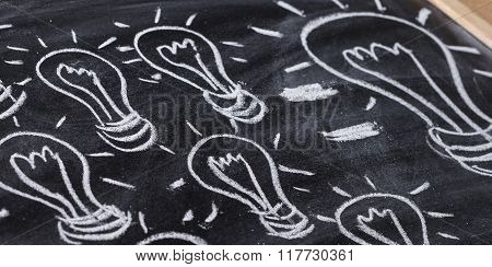 Small Ideas Make Big One Sketched Drawing On Blackboard