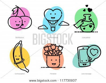 Vector Outlined Icons Set For Valentines Day