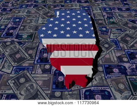 Illinois map flag on dollars illustration