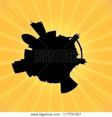 Circular London skyline on sunburst illustration