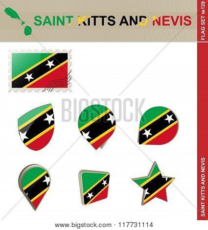 Saint Kitts And Nevis Flag Set, Flag Set #129