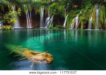 Croatia. Plitvice Lakes. Waterfall With Turquoise Water