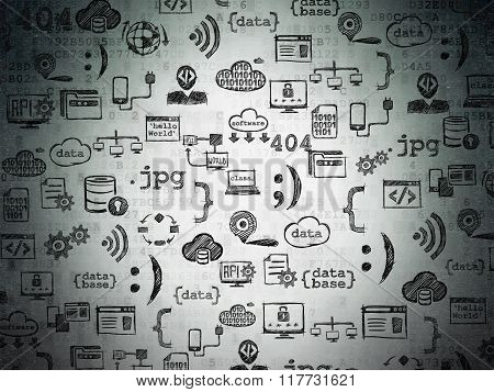Digital background: Digital Paper with  Hand Drawn Programming Icons