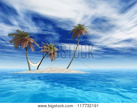 Concept or conceptual isolated exotic island with palm trees with a hammock and sand in the sea or ocean over blue sky background with white clouds