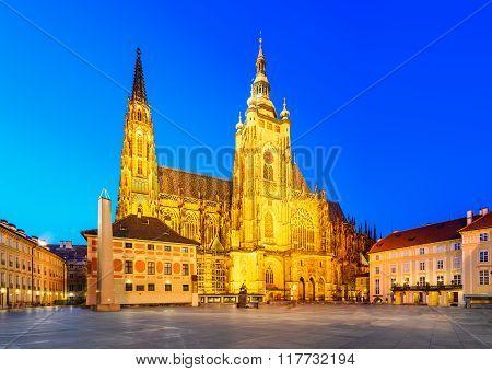 Prague Czech Republic. Saint Vitus Cathedral in Prague Castle (Pražský hrad) one of the symbols of Praha in Bohemia twilight.