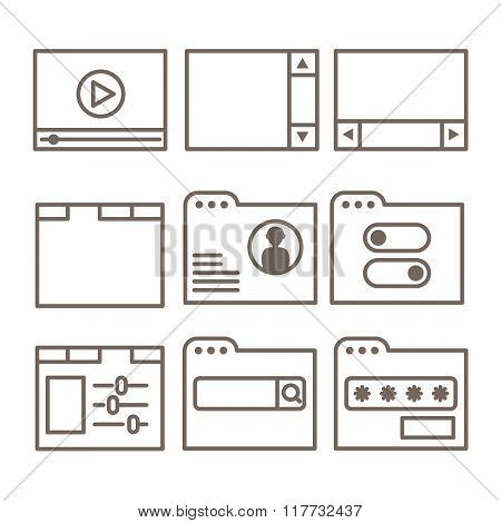 Vector Icons Of Interface Screens Or Software Windows