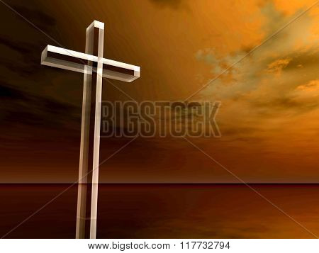 Concept conceptual glass cross or religion symbol silhouette on water landscape over a sunset or sunrise sky with sunlight clouds background