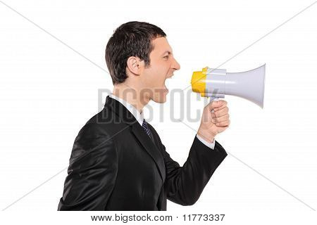 Displeased Businessman In Black Suit Shouting Via Megaphone