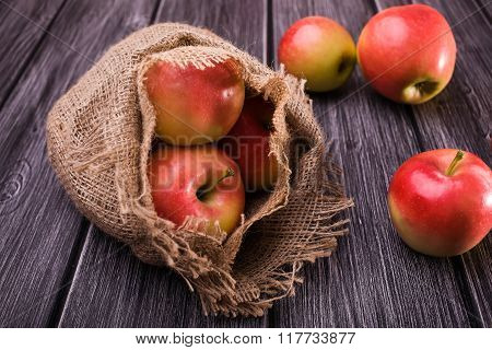 Apples With Burlap Sack