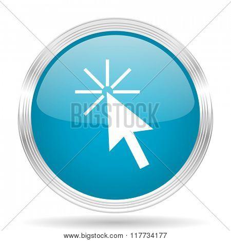 click here blue glossy metallic circle modern web icon on white background