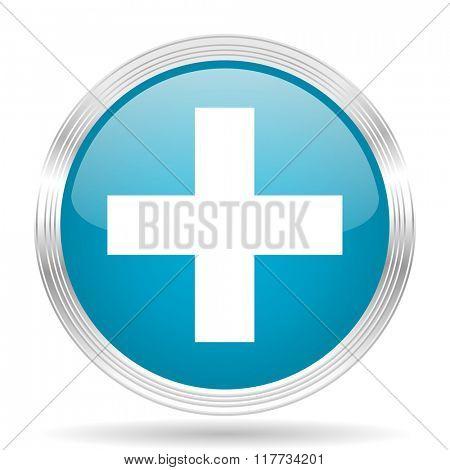 plus blue glossy metallic circle modern web icon on white background