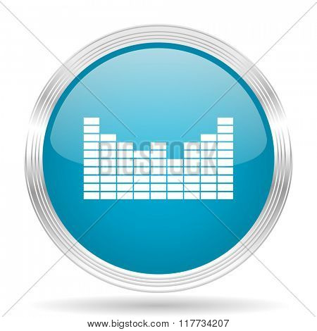 sound blue glossy metallic circle modern web icon on white background
