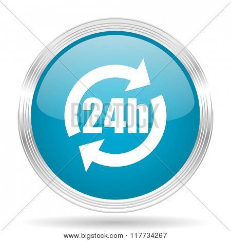 24h blue glossy metallic circle modern web icon on white background