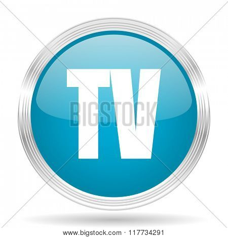 tv blue glossy metallic circle modern web icon on white background
