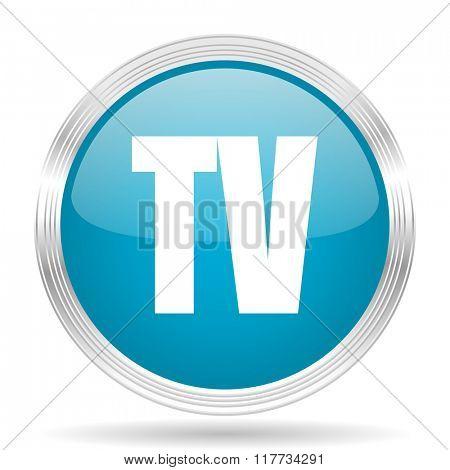 tv blue glossy metallic circle modern web icon on white background