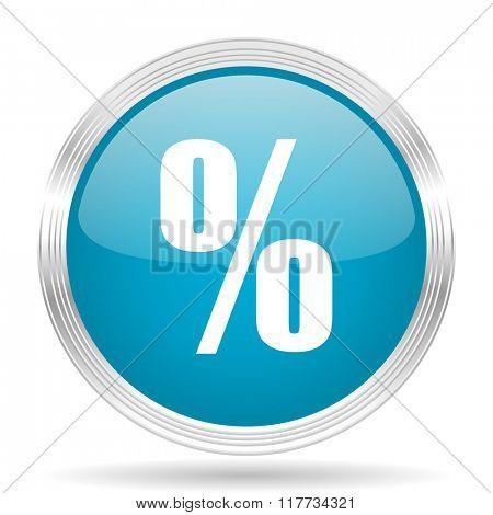 percent blue glossy metallic circle modern web icon on white background