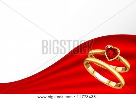 Wedding card with gold rings on red