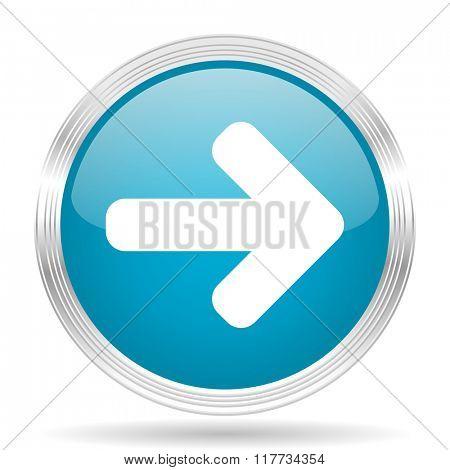 right arrow blue glossy metallic circle modern web icon on white background