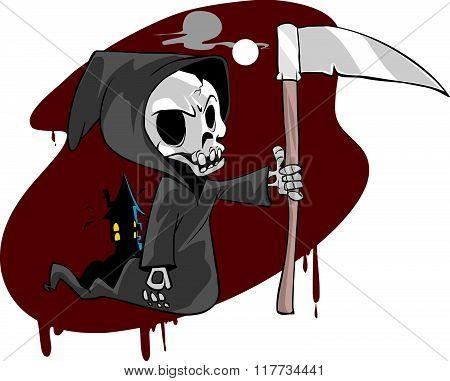 Vector Illustration Of A Skeletal Grim Reaper