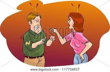 Vector Illustration Of A Husband And Wife Arguing