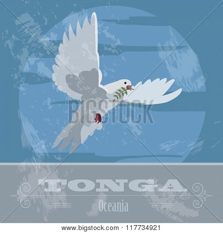 Tonga  infographics, statistical data, sights. Dove with olive branch