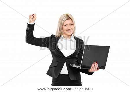 Happy Businesswoman With Laptop Isolated On White
