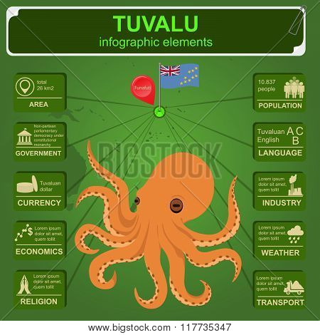 Tuvalu  infographics, statistical data, sights. Octopus.
