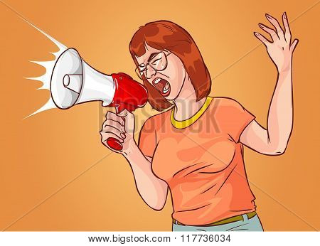 Vector Illustration Of A Megaphone Shouting Woman