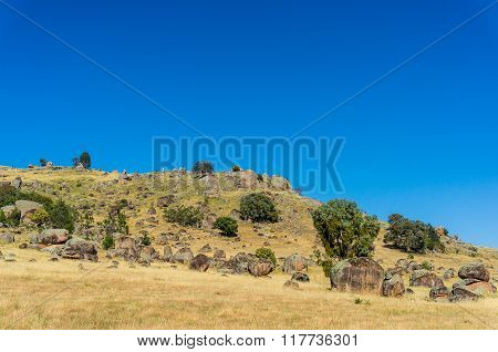 Australian beautiful summer landscape. Rocky hill pasture australian landscape in sunny day against blue sky. Copy space
