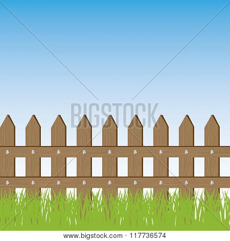 Vector illustration of grass and fence
