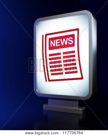 News concept: Newspaper on billboard background
