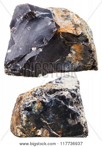 Two Pieces Of Black Flint (chert) Rock Isolated