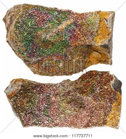 Rainbow (iridescen) Pyrite Mineral Rocks Isolated