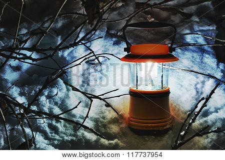 Hand lantern in snow, HDR