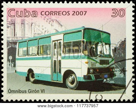 Autobus Giron Vi On Postage Stamp