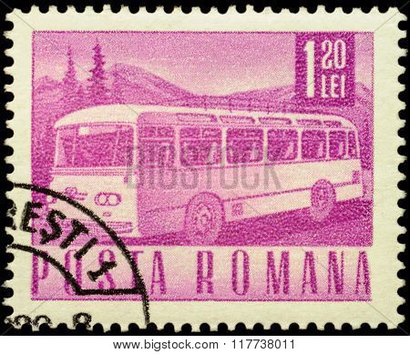 Motor Coach On Postage Stamp
