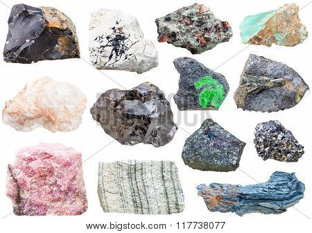Lot Of Natural Mineral Rock Stones Isolated