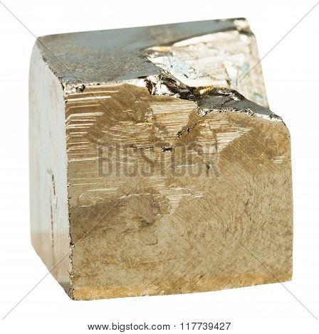 Pyrite Cubic Crystal Isolated On White