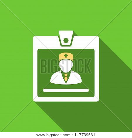 Doctor Badge Flat Long Shadow Square Icon